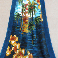 Dark Blue Coconut and Floral Beach Towel