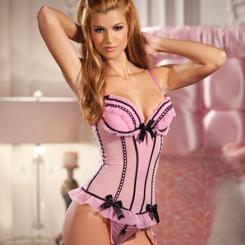 Two Piece Pink Mesh Corset and Panty Set