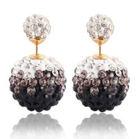 Design Clay Crystal Shamballa Earrings Wo Disco Double Ball Earrings Gradient Two Tone Color Stud Earring E114