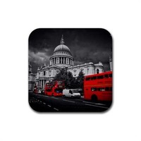 London Cathedral Black White Red Rubber Square Coasters Set of 4