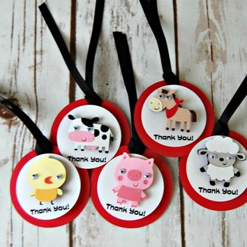 Farm Theme Birthday Party Favor Tags, Barnyard Party Favor Bags, Farm Animal Party Favor Tag (set of 12)