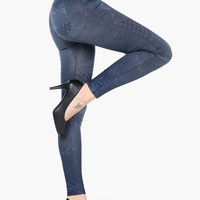 Jeans Pattern Net Accent Leggings