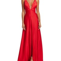 Aidan MattoxPlunge Neck Gown - 100% Exclusive