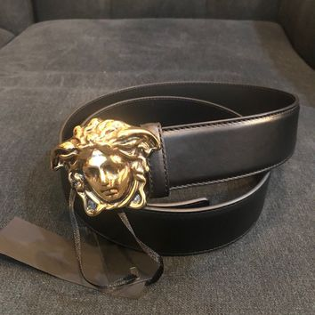Versace Medusa Head Black Belt 33/34
