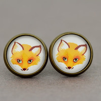 Fake Plugs Stud Earrings : Adorable Orange Fox Earrings, Cute, Wildlife, Cartoon, Watercolor, Fantastic Mr. Fox by OAKWILDE on Etsy
