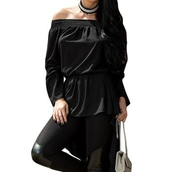 Chicloth Black Bow Accent Elastic Off Shoulder Blouse