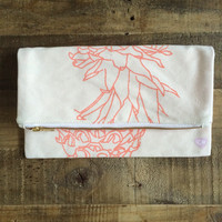 Cameron Hawaii - Pineapple Foldover Clutch / Papaya