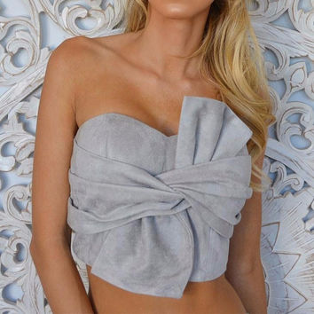 Sexy suede bow strapless top
