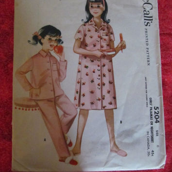 Spring Fever Sale 1950's McCall's Sewing Pattern, 5204! Size 6, Girls, Nightshirts, Pajamas, Sleepwear, Children's, 4 seasons