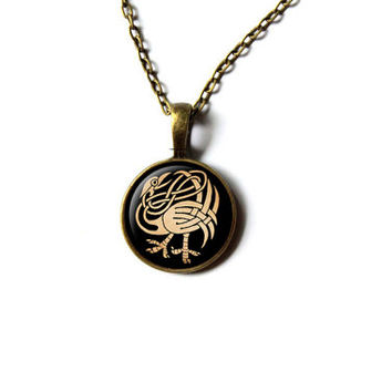 Pagan pendant Bird necklace Celtic knot jewelry NW288