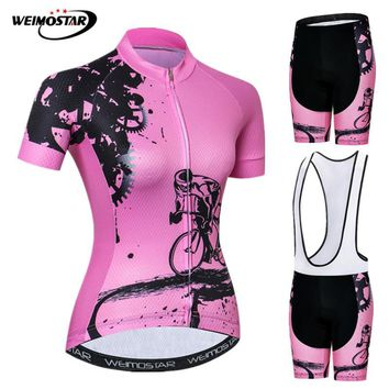 Weimostar Pink Summer Cycling Jersey Set Women MTB Bike Clothing Ropa Ciclismo Anti-UV Racing Sport Bicycle Clothes Cycling Wear