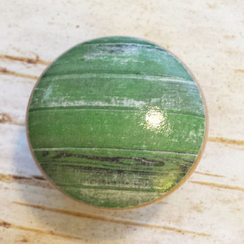 Distressed Wood Knob Drawer Pulls, Green Tones, Old Wood Cabinet Handles,  Reclaimed Wood, Made To Order, Style 8