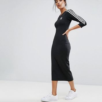adidas Originals Black Three Stripe Midi Dress at asos.com
