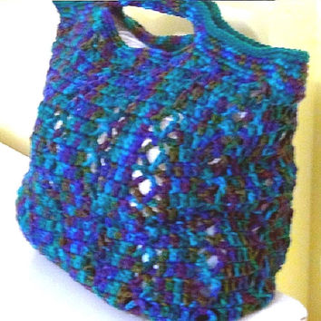 Crocheted Bag - Crochet Beach Tote - Crochet Yarn Tote - Reusable Grocery Bag - Teal Blue Variegated Tote Bag