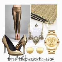 GOLD Faux Leather Leggings New