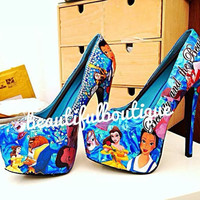 "Stunning Ladies Handmade Decoupage 6"" Heels Disney Beauty & The Beast"