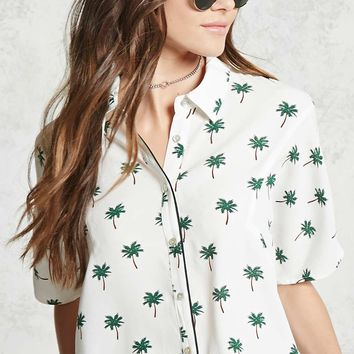 Palm Tree Print Pajama Shirt