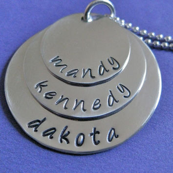 ThreeLayer Handstamped Name Necklace in by thirtyoneshekels