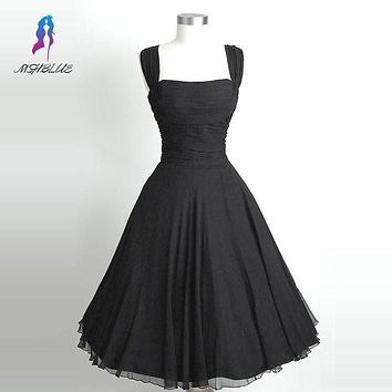 Simple Little Black Cocktail Dresses Chiffon Sleeveless Open Back Tea Length Formal Women Evening Party Dress