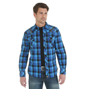 Wrangler Rock 47 Men's Long Sleeve Spread Collar Plaid Snap Shirt Royal Black