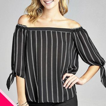 Plus size off the shoulder stripe top