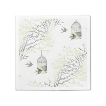 Gray Yellow Birdcage Bare Branches Napkins