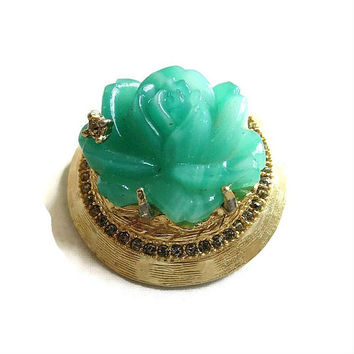 Faux Jade Molded Glass Rose Flower Brooch Vintage 3-D Dimensional