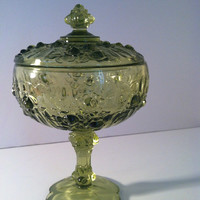Vintage Rare Green Glass Compote With Rose Design