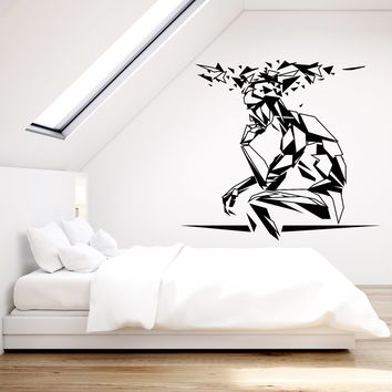 Vinyl Wall Decal Cognitive Man Geometric Polyhedron Silhouette Polyhedron Stickers (2816ig)