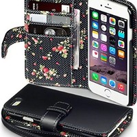 iPhone 6S Case, Terrapin [Floral Interior] Premium PU Leather Wallet Case with Card Slots, Cash Compartment and Detachable Wrist Strap for iPhone 6 / 6S (Red with Floral Interior)