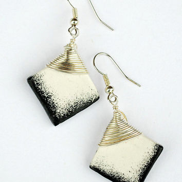 Modern square black and white earrings. Unique handpainted fashion jewelry.