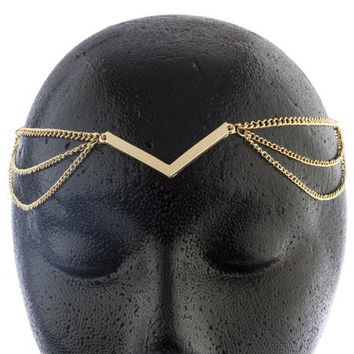 2 Pieces of Goldtone Metal Adjustable Chevron Style Link Head Chain