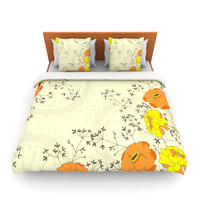 "Nandita Singh ""Flowers and Twigs"" Tan Orange Lightweight Duvet Cover"