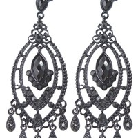 Gothic Victorian Black Beaded Chandelier Cocktail Party Evening Earrings