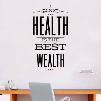 Health Wealth V2 Quote Wall Decal Sticker Bedroom Room Art Vinyl Inspirational Motivational Teen School Baby Nursery Kids Office Gym