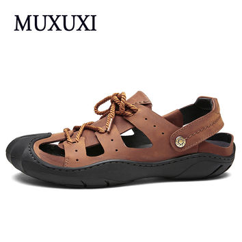 Toe Protect Men's Sandals Genuine Leather Soft Sole Casual Shoes Quality Outdoor Beach Shoes All  sandals male sandals