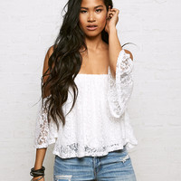Don't Ask Why Lace Off-The-Shoulder Top, Chalk