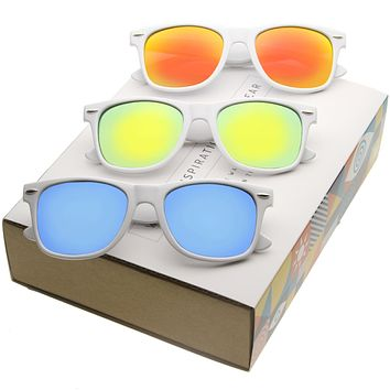 Retro Horned Rim Color Mirrored Lens Sunglasses A616 [Promo Box]