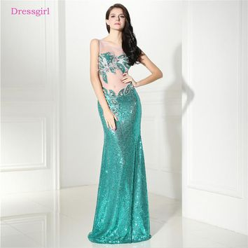 Green 2018 Prom Dresses Mermaid See Through Beaded Crytals Sequins Elegant Long Women Prom Gown Evening Dresses Robe De Soiree