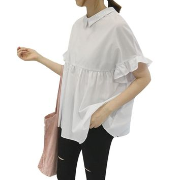 Chic Peter Pan Collar Flounced Pure Color Blouse for Women