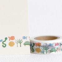 Marine Sea Life Washi Tape with Shark, Octopus, Clownfish, Hermit Crab, Seaweed, Water Snake, Turtle, Fish, Shell 15mm