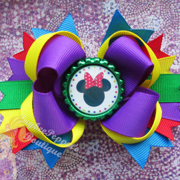 Minnie Mouse Hair bow Disney headband bottle cap clip over the top boutique girls cute fun fall vacation Halloween trip Christmas gift