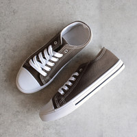canvas low top sneakers - khaki