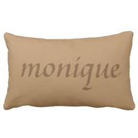 Monogrammed Calligraphy Brown Throw Pillows