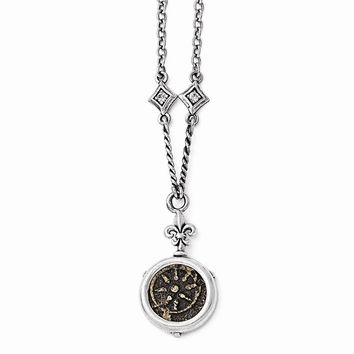 """Sterling Silver & Bronze Antiqued Widows Mite Coin & CZ 18"""" w/3"""" ext. N"""