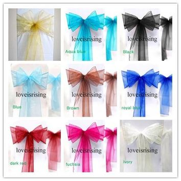 20 Colors Pick--25pcs/lot Wedding Chair Sashes Organza Chair Sashes Bow Cover Modern Christmas Party Banquet Chair Decor