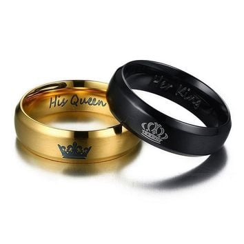 Crown Wedding Rings for Women His Queen & Her King Men Couple Jewelry Black Gold-Color