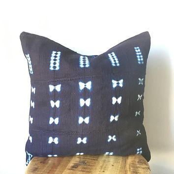 Handmade Shibori Indigo Blue and White African Mudcloth Pillow Cover