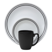 Corelle Livingware Brilliant Black Beads 16-Pc Dinnerware Set