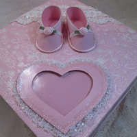 Handmade Baby Girl- Pink Keepsake Box - Baby Shower- Baptism- Christening Gift